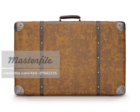 Old suitcase with wear on the surface of the leather and rust on metal. Clipping path included. Stock Photo - Budget Royalty-Free, Image code: 400-07662225