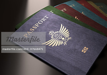 Colorful passports on a dark reflective table. Stock Photo - Budget Royalty-Free, Image code: 400-07668471