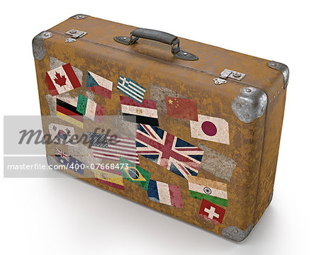 Antique suitcase with stamps flags representing each country traveled. Clipping path included. Stock Photo - Budget Royalty-Free, Image code: 400-07668473