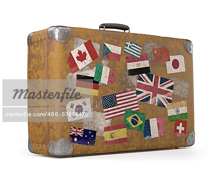 Antique suitcase with stamps flags representing each country traveled. Clipping path included. Stock Photo - Budget Royalty-Free, Image code: 400-07668476
