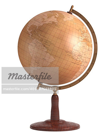 Antique globe on white background with clipping path included. Stock Photo - Budget Royalty-Free, Image code: 400-07669801