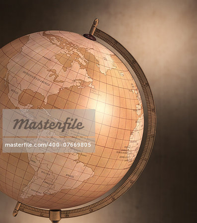 Antique globe with spotty background. Clipping path included. Stock Photo - Budget Royalty-Free, Image code: 400-07669805
