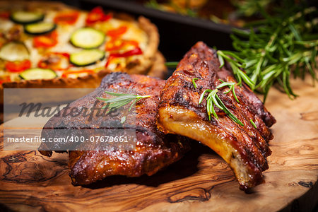 BBQ spare ribs with herbs Stock Photo - Budget Royalty-Free, Image code: 400-07678661