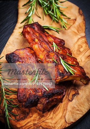 BBQ spare ribs with herbs Stock Photo - Budget Royalty-Free, Image code: 400-07678662