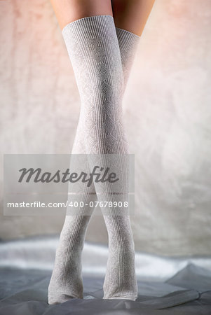 Beautiful woman legs in cotton stockings Stock Photo - Budget Royalty-Free, Image code: 400-07678908