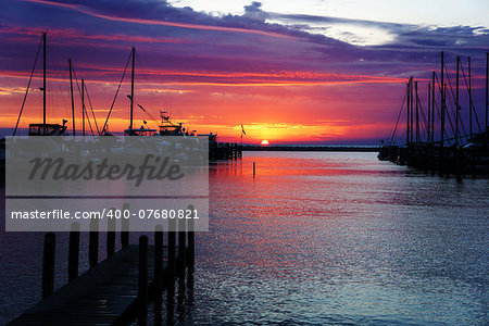 Image of a beautiful sunset at boat marina Stock Photo - Budget Royalty-Free, Image code: 400-07680821