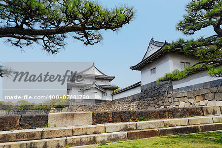 Osaka castle and moat at day Stock Photo - Budget Royalty-Free, Image code: 400-07681780