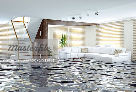 flooding in luxurious interior. 3d creative concept Stock Photo - Budget Royalty-Free, Image code: 400-07712681
