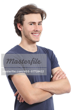 Handsome happy man posing standing isolated on a white background Stock Photo - Budget Royalty-Free, Image code: 400-07718422