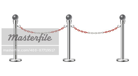 Stand chain barriers in silver design with red and white chain on white background Stock Photo - Budget Royalty-Free, Image code: 400-07719517
