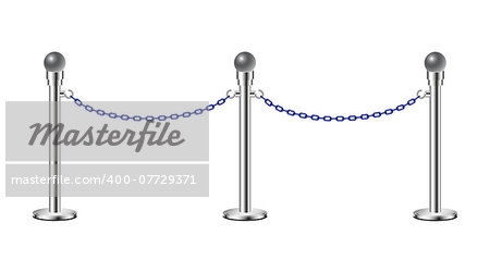 Stand chain barriers in silver design with blue chain on white background Stock Photo - Budget Royalty-Free, Image code: 400-07729371