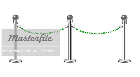 Stand chain barriers in silver design with green chain on white background Stock Photo - Budget Royalty-Free, Image code: 400-07729558