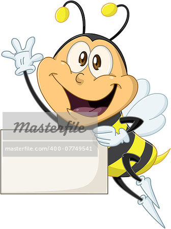 Vector illustration of a cute flying bee holds sign and waves Stock Photo - Budget Royalty-Free, Image code: 400-07749541