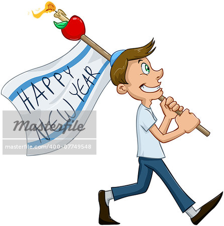 Vector illustration of jewish guy holds happy new year flag for rosh hashana Stock Photo - Budget Royalty-Free, Image code: 400-07749548