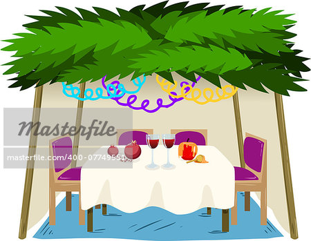 Vector illustration of Sukkah with ornaments table with food for the Jewish Holiday Sukkot. Stock Photo - Budget Royalty-Free, Image code: 400-07749551