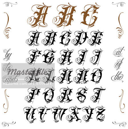 Famous tattoo old english vector lettering Stock Photo - Budget Royalty-Free, Image code: 400-07776124