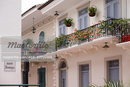 Tourist attractions and destination scenics. View of pictouresque street of Casco Antiguo, Panama City Stock Photo - Budget Royalty-Free, Image code: 400-07776510