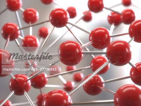 Molecular structure with red spheres interconnected with depth of field. Stock Photo - Budget Royalty-Free, Image code: 400-07776863