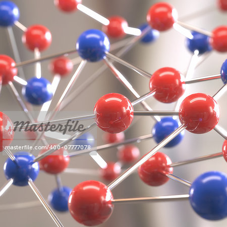 Molecular structure with spheres interconnected with depth of field. Stock Photo - Budget Royalty-Free, Image code: 400-07777078