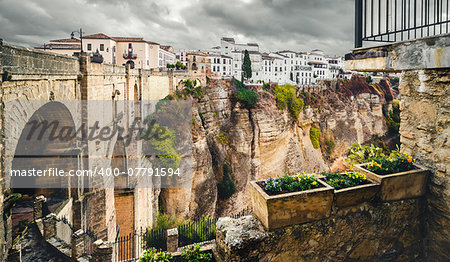 The Puente Nuevo bridge and Picturesque view of Ronda city. Province of Malaga, Andalusia, Spain Stock Photo - Budget Royalty-Free, Image code: 400-07791594