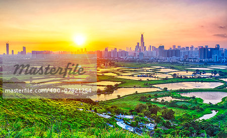 sunset in hong kong countryside, rice field and modern office buildings Stock Photo - Budget Royalty-Free, Image code: 400-07821254