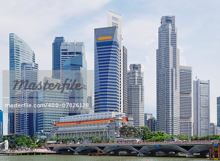 Singapore city skyline at day asia famous downtown Stock Photo - Budget Royalty-Free, Image code: 400-07826128