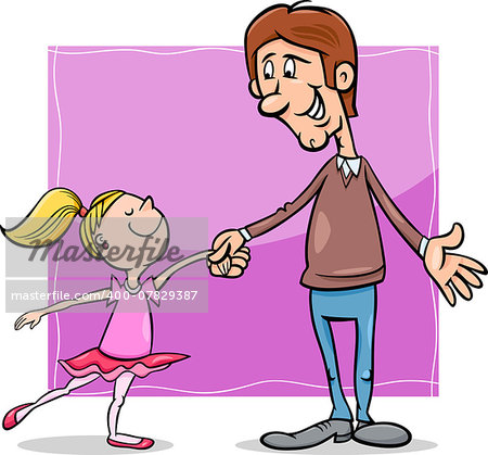 Cartoon Illustration of Father and Little Daughter Dancing Ballet Stock Photo - Budget Royalty-Free, Image code: 400-07829387