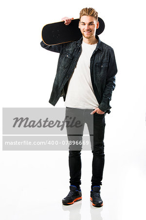 Studio portrait of a young man posing with a skateboard Stock Photo - Budget Royalty-Free, Image code: 400-07896669