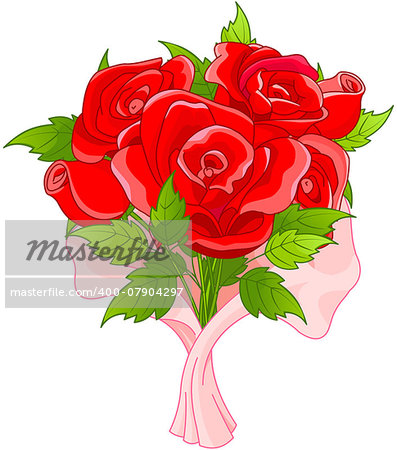 Illustration of bouquet of roses Stock Photo - Budget Royalty-Free, Image code: 400-07904297