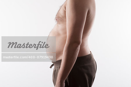 side of fat man top nude on white background Stock Photo - Budget Royalty-Free, Image code: 400-07919430