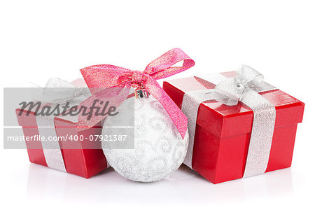 Christmas gift boxes and decor. Isolated on white background Stock Photo - Budget Royalty-Free, Image code: 400-07921387