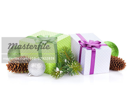 Christmas gift boxes and decor. Isolated on white background Stock Photo - Budget Royalty-Free, Image code: 400-07922838