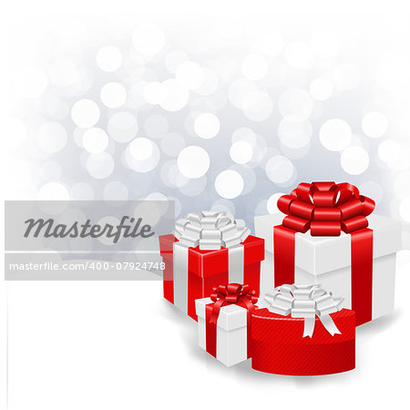 Silver Bokeh Xmas Wallpaper With Gift Box With Gradient Mesh, Vector Illustration Stock Photo - Budget Royalty-Free, Image code: 400-07924748