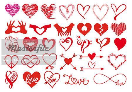 Heart, love, Valentines day, big set of vector graphic design elements