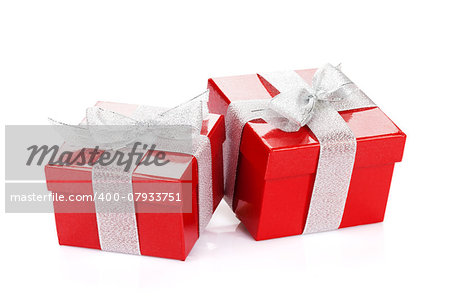 Two red gift boxes. Isolated on white background Stock Photo - Budget Royalty-Free, Image code: 400-07933751