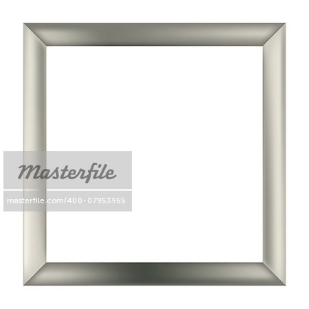 simple square silver metal frame isolated on the white background Stock Photo - Budget Royalty-Free, Image code: 400-07953965