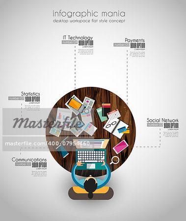 Ideal Workspace for teamwork and brainsotrming with Flat style. A lot of design elements are included: computers, mobile devices, desk supplies, pencil,coffee mug, sheeets,documents and so on Stock Photo - Budget Royalty-Free, Image code: 400-07954460