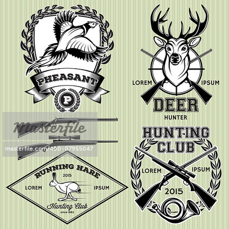 set of vector emblems with a deer, hare, pheasant for hunting Stock Photo - Budget Royalty-Free, Image code: 400-07955047