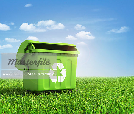 Green plastic trash recycling container ecology concept, with landscape background. Stock Photo - Budget Royalty-Free, Image code: 400-07979817