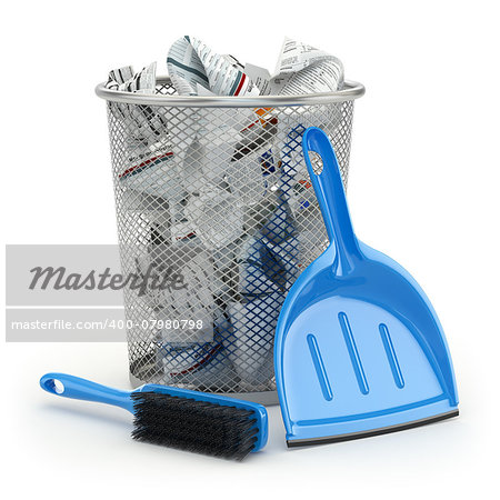 Cleaning concept.Garbage bin, dustpan or scoop and brush. 3d Stock Photo - Budget Royalty-Free, Image code: 400-07980798