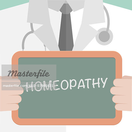minimalistic illustration of a doctor holding a blackboard with homeopathy text, eps10 vector Stock Photo - Budget Royalty-Free, Image code: 400-07981631