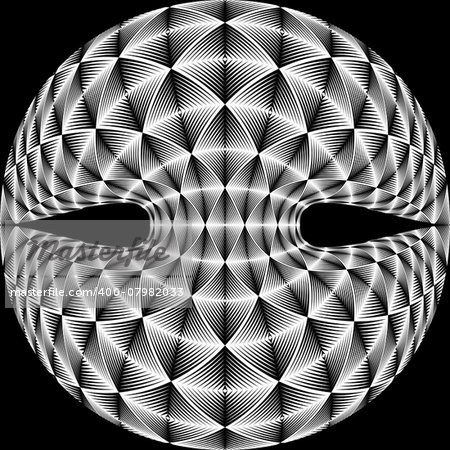 Design warped diamond trellised backdrop. Abstract geometric monochrome element. Vector art. No gradient