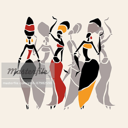 Figures of african dancers. Dancing woman in ethnic style. Vector  Illustration. Stock Photo - Budget Royalty-Free, Image code: 400-07982590