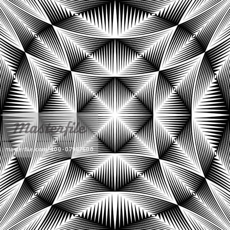 Design warped trellised pattern. Abstract geometric monochrome background. Vector art. No gradient