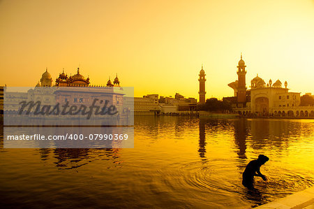 Sunset at Golden Temple in Amritsar, Punjab, India. Stock Photo - Budget Royalty-Free, Image code: 400-07990369