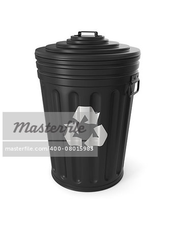 Black trash can isolated on white background Stock Photo - Budget Royalty-Free, Image code: 400-08015983