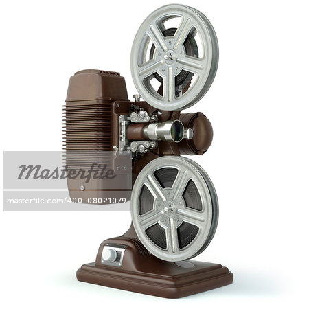 Vintage film movie projector isolated on white. 3d Stock Photo - Budget Royalty-Free, Image code: 400-08021079