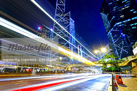 night traffic in the hong kong city Stock Photo - Budget Royalty-Free, Image code: 400-08032140