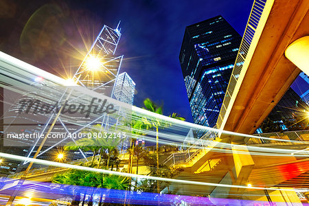 night busy traffic in the hong kong downtown city Stock Photo - Budget Royalty-Free, Image code: 400-08032143