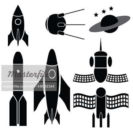 illustration  with space ships silhouettes on white background Stock Photo - Budget Royalty-Free, Image code: 400-08032164
